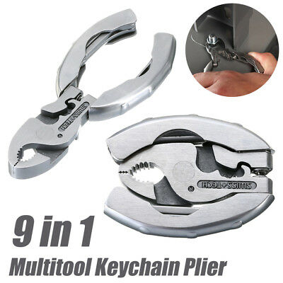9 in 1 Multifunctional Keychain Plier Crimper Screwdriver Foldable Multitool