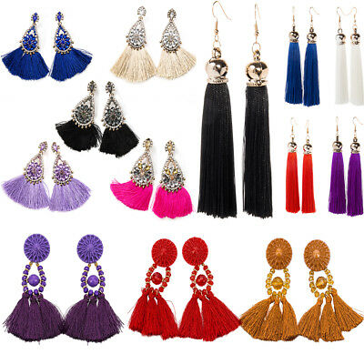 1 pair Bohemian Earrings Women Long Tassel Fringe Boho Dangle Earrings Jewelry