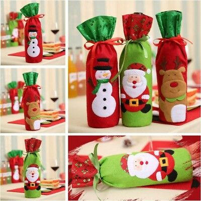 Xmas Wine Bottle Cover Bags Snowman/Santa Claus Christmas Decoration Sequins