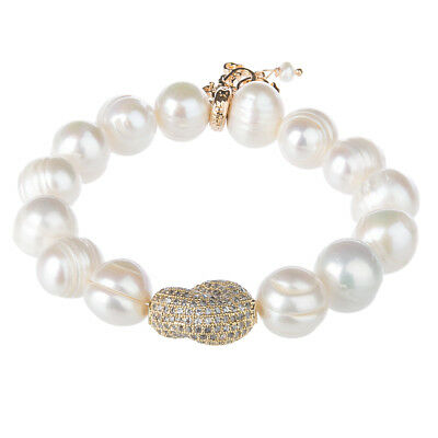 NEW Bowerhaus Pearl Link Bracelet with Gold Stone