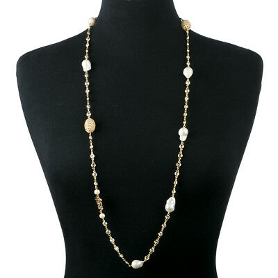 NEW Bowerhaus Faberge Egg Chain Long Gold Necklace