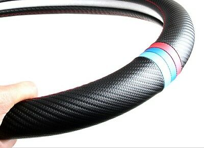 38cm/15'' Car Carbon Fiber Look PU Leather Steering Wheel Cover For BMW X1 X3 X5