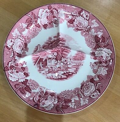 """Enoch Woods Ware 10.5"""" Plate Divided Nibbles English Scenery Pink/White Horse"""