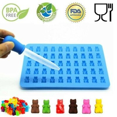 50Cavity Silicone Gummy Bear Chocolate Mold Candy Maker Ice Tray Jelly Mould DIY