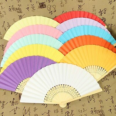 Portable Chinese Folding Bamboo Cloth Hand Held Pocket Fan Wedding Dancing Party