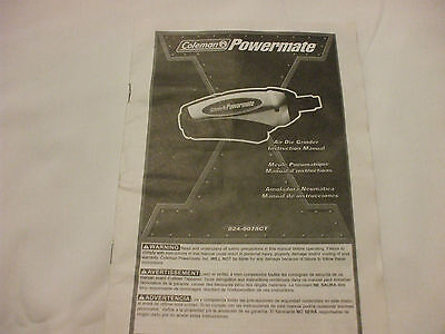 Coleman Powermate Air Die Grinder Manual English, French, Spanish Text