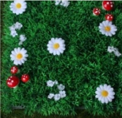 Fairy Grass Features White  Flowers And Toad Stools Fairy Door Accessory