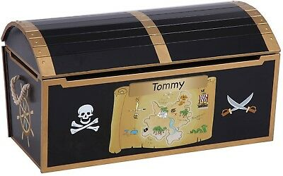 Toy Storage Box Pirate Treasure Chest Black Rope Handle Gold Accents Lid Support