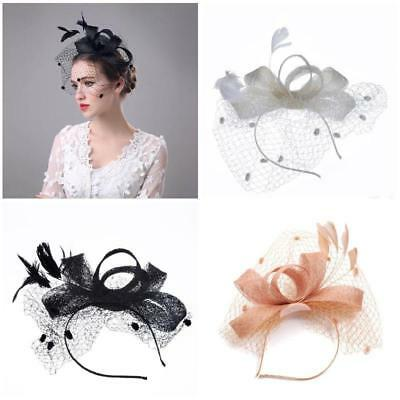 Lady Cambric Feather Sinamay Hat Decorations Clip Wedding Fascinator Party HOT