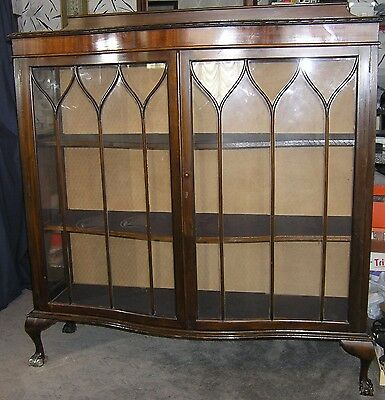 Vintage Edwardian Mahogany  Bow Front Double Door China Display Cabinet