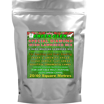 Hard Wearing Grass Seed - GREEN GLEN Lawnseed Mix for Hardy and Ornamental Lawns