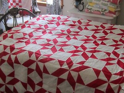 In Time For Christmas! Antique Turkey Red & White Broken Star Quilt TOP 90x65""