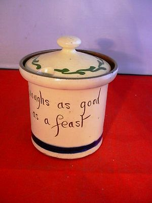 Vintage Motto Ware Jam Jar Mustard Pot Enoughs As Good As A Feast Devon Torquay