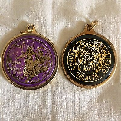 Rhea Mardi Gras looped badge charm doubloon 1981 & 1983