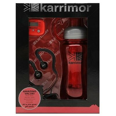 Karrimor Runner Gift Set Hi Vis Vest Water Bottle Mp3 Wallet Earphones Pedometer