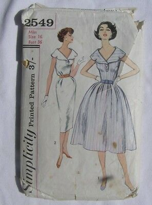 "Original vintage 1950's dress sewing pattern Simplicity 2549 size 36"" bust"