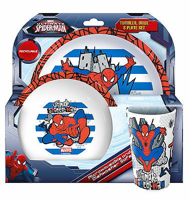 Boys - Marvel Spiderman Dinner Set Plate Bowl Cup