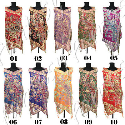 Large Women Paisley Print Cashmere Scarf Wrap Shawl Stole Scarves with Tassels