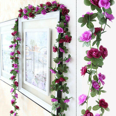 2.5M Fake Silk Rose Ivy Vine With Green Leaves Hanging Artificial Flower Garland