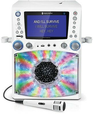 Karaoke Machine With Disco Light LCD Monitor Singing Home Music Play Party White