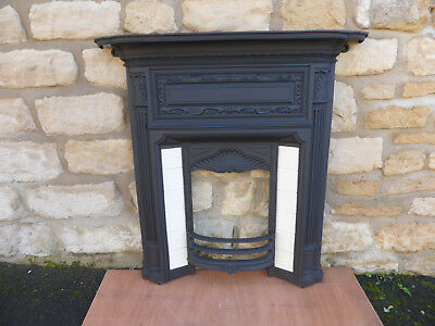 Victorian Cast Iron Fireplace Front with Tiles and Fixing Lugs.