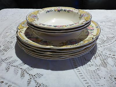 JOHNSON BROS ENGLAND PAREEK YALE LUNCHEON PLATE X 6 FRUIT BOWL X 3 1930s