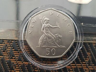 1969 First Released UK Large Fifty Pence Coin Uncirculated 50p NEW PENCE