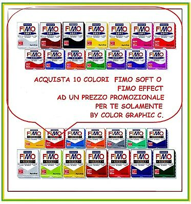10 panetti assortiti di FIMO colorati da 56gr