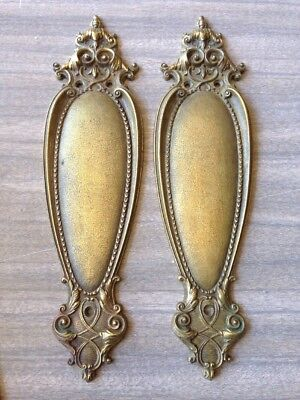 S 8 Antique Brass Elegant Push Plates