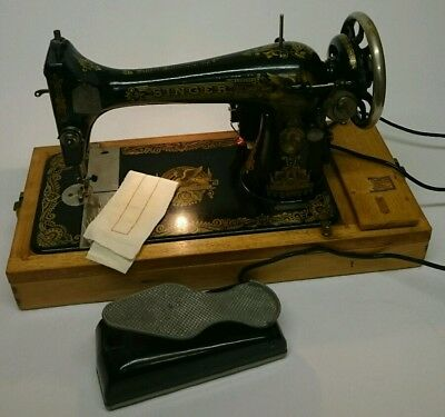Singer 127k Converted Electric Sewing Machine 1917 Antique