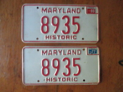 "Pair of 1970s Maryland ""Historic"" License Plates - Embossed - Set - 1970s - 8935"