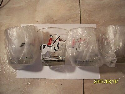 Vintage Libbey Equestrian Horse Racing Whiskey Rocks Glasses - Lot of  4