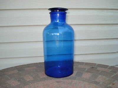 Vintage Cobalt Blue Hand Blown Glass Apothecary Pharmacy Jar Ground Stopper