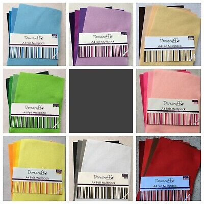 Dovecraft 8 x A4 Felt Sheets Multipack Craft Scrapbooking Cardmaking Sewing