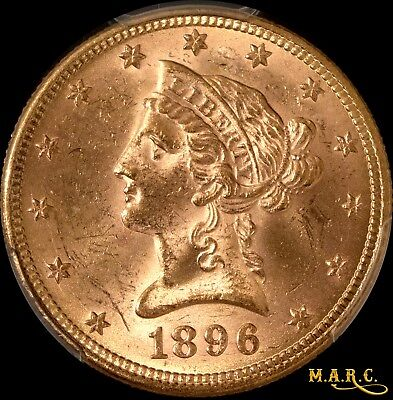 1896 MS63 PCGS 10$ Liberty Gold Eagle, Bright and Lustrous, Free Shipping, MARC