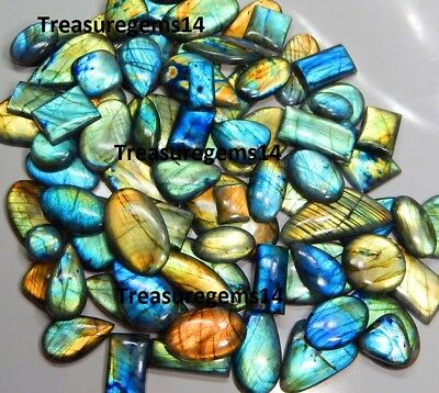 505Ct Wholesale Lot Natural Multi Fire Labradorite Cabochon Top Quality Gemstone
