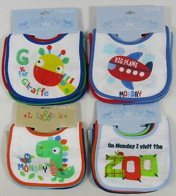 Babies Baby Girls Boys Waterproof Bibs Bib Dribble Feeding Fastening 7 pack PEVA