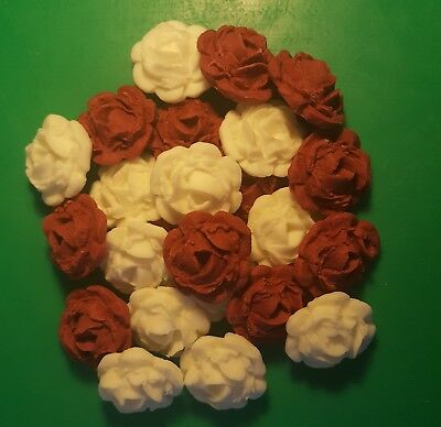 24 Edible Large Burgundy & White roses flowers cupcake cake toppers weddings