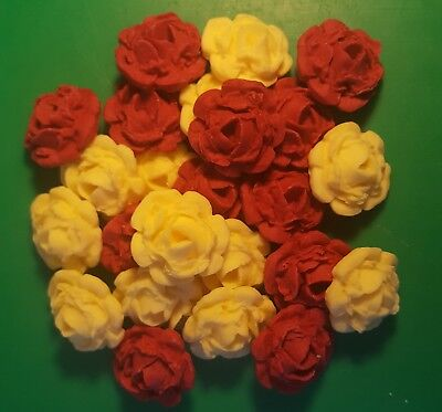 24 Edible Large Cream & Claret roses flowers cupcake cake toppers weddings