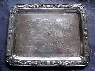 Chinese Export Silver Tray Dragon Argent Massif Plateau Chine Dragons