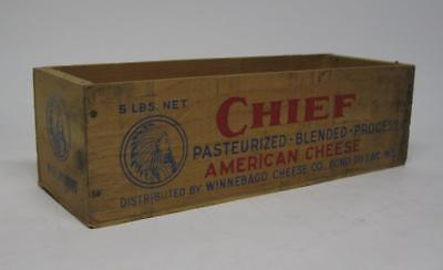 Rare Vintage Old CHIEF Wooden Chees Box 5 Lb. Fond Du Lac. Wisconsin