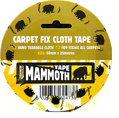 Carpet To Floor Tape Heavy Duty Double Sided 50mm x 25m Adhesive Everbuild Cloth