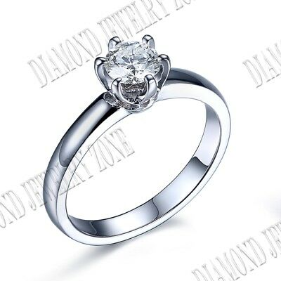 Sterling Silver Round 5mm 0.5CT Flawless Cubic Zirconia Engagement Ring Setting
