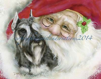 Schnauzer Santa note cards add a short message inside Free