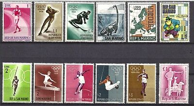 San Marino, Very Nice Thematic Selection Of 12 Different, 11 Mnh, 1 Mh, Lot Sm01