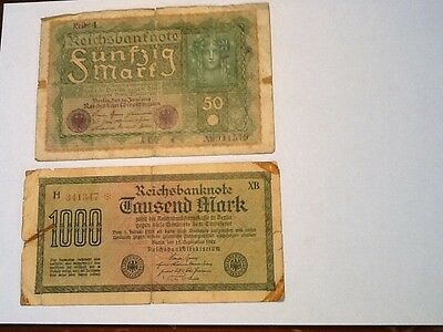 1923 -1000 mark banknote & A -1919 - 50 mark banknote from Germany.