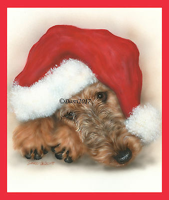 Airedale Terrier Christmas note cards add a short message inside Free