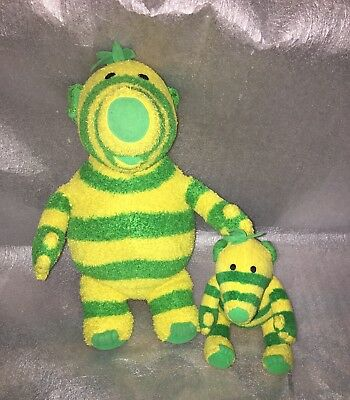 "CBeebies Fisher Price FIMBLES Fimbo Yellow and Green Plush Toys - 15"" and 6"""