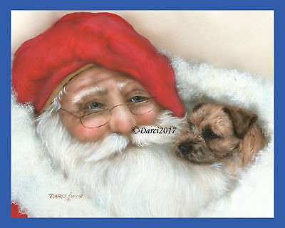 Border Terrier Santa note cards add a short message inside Free