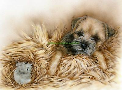 Border Terrier mouse note cards add a short message inside Free